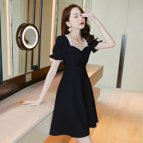 Dress Summer 2021 Black tmqz202209-5 white tmqz202209-5 S M L XL Short skirt singleton  Short sleeve commute square neck High waist zipper A-line skirt puff sleeve Others 25-29 years old Type A Misogh Korean version TMQZ202209-5 81% (inclusive) - 90% (inclusive) polyester fiber