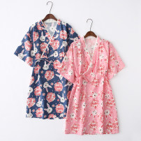 Nightdress Other / other M / original average size (weight 115-135 kg), new s (weight within 115 kg) Sweet Short sleeve Leisure home Short skirt summer Plants and flowers youth V-neck printing More than 95% Woven cotton fabric