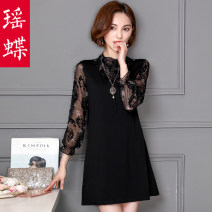 T-shirt 625 black 5290 black 5290 Caramel L XL 2XL 3XL 4XL Spring of 2018 Long sleeves Half high collar easy Medium length puff sleeve commute other 96% and above 25-29 years old Korean version originality Flower mosaic Yao Butterfly YD16D0151 Printing stitching mesh lace hollow Other 100%