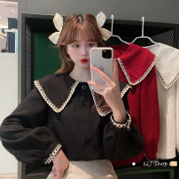 shirt Black, off white, red Average size Spring 2021 other 30% and below Long sleeves commute Doll Collar Single row multi button routine 18-24 years old Korean version Button