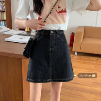 skirt Spring 2021 S,M,L Sky blue, off white, black Short skirt Versatile High waist Denim skirt Solid color Type A 18-24 years old 30% and below other other