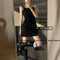 Dress Spring 2021 black S,M,L Short skirt singleton  commute High waist Solid color Socket A-line skirt camisole 18-24 years old Type A Retro 30% and below other other