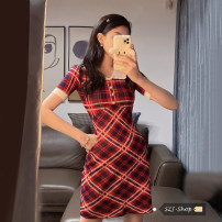 Dress Spring 2021 Picture color Average size Short skirt singleton  Short sleeve commute Polo collar Elastic waist lattice Socket A-line skirt 18-24 years old Type A Other / other 30% and below other other