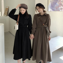 Dress Autumn 2020 Black, maroon Average size Mid length dress singleton  Long sleeves commute Polo collar High waist Solid color Socket A-line skirt routine Others Under 17 Type A Korean version 30% and below other
