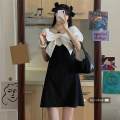 Dress Summer 2021 black S,M,L Short skirt singleton  Long sleeves commute square neck High waist other Socket A-line skirt puff sleeve Others Under 17 Type A Korean version pocket 30% and below other other
