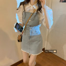 Dress Summer 2021 Denim suspender skirt, white short sleeve shirt S. M, l, average size Short skirt Two piece set Sleeveless commute Solid color Socket A-line skirt Others 18-24 years old Type A Frenulum 30% and below other other