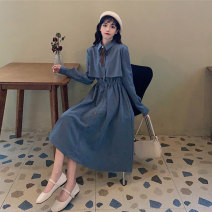 Dress Autumn 2020 Blue, red, black Average size Mid length dress singleton  Long sleeves commute Polo collar High waist Solid color Socket A-line skirt routine Others 18-24 years old Type A Korean version Button 30% and below other other