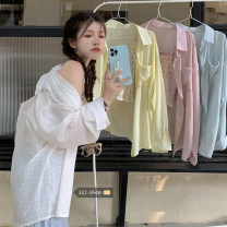 shirt Average size Summer 2021 other 30% and below Long sleeves commute Medium length Polo collar Single row multi button routine Solid color Under 17 Straight cylinder Korean version