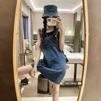 Dress Spring 2021 navy blue Average size Short skirt singleton  Sleeveless commute square neck Solid color Socket One pace skirt Others 18-24 years old Type A Other / other 30% and below other other