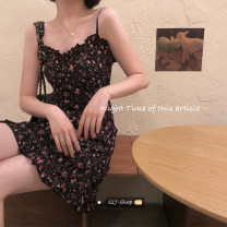 Dress Summer 2021 Picture color M, L Short skirt singleton  Sleeveless commute V-neck High waist Decor Socket A-line skirt routine camisole Under 17 Type A Korean version other other