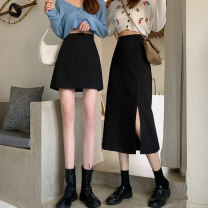 skirt Autumn 2020 S,M,L Grey skirt, black skirt, grey skirt, black skirt Short skirt commute High waist A-line skirt Solid color Type A 18-24 years old 30% and below other other Asymmetry Korean version