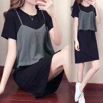 Dress Summer 2020 Black [fake two] M [recommended 80-100 kg], l [recommended 100-115 kg], XL [recommended 115-125 kg], 2XL [recommended 125-140 kg], 3XL [recommended 140-160 kg], 4XL [recommended 160-180 kg] Mid length dress Fake two pieces Short sleeve commute Crew neck Loose waist Solid color other