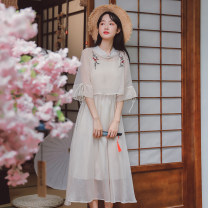 Dress Summer 2021 Apricot, purple pink, bean green S,M,L Middle-skirt Two piece set elbow sleeve commute Half high collar middle-waisted Solid color Socket other other Others 18-24 years old Type A Other / other literature 5257# 51% (inclusive) - 70% (inclusive) other other