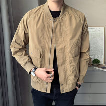 Jacket First tone Youth fashion M L XL 2XL 3XL 4XL routine easy Other leisure spring Polyester 100% Long sleeves Wear out Baseball collar tide youth routine Zipper placket Rib hem No iron treatment Closing sleeve Solid color polyester fiber Spring 2021 Rib bottom pendulum Digging bags with lids