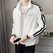 Jacket First tone Youth fashion A333-y216 white a333-y216 black M L XL 2XL 3XL routine Self cultivation Other leisure spring A333-Y216A Polyester 100% Long sleeves Wear out Lapel tide routine Zipper placket No iron treatment Closing sleeve Spring 2021 Pure e-commerce (online only) polyester fiber