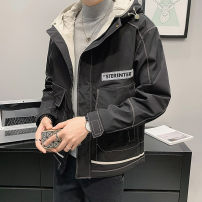 Jacket First tone Youth fashion M1001 black m1001 gray jk-003 black jk-003 white M L XL 2XL 3XL 4XL routine easy Other leisure spring M1002A Polyester 100% Long sleeves Wear out Hood tide routine Zipper placket Cloth hem No iron treatment Closing sleeve polyester fiber Spring 2021 More than two bags)