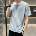 T-shirt Youth fashion Tx012 light green tx012 Khaki routine 4XL M L XL 2XL 3XL First tone Short sleeve Crew neck easy daily summer TX012A4 Cotton 100% routine tide Summer 2021 stripe cotton No iron treatment Pure e-commerce (online only) More than 95%