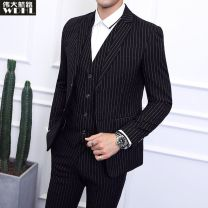 Suit Business gentleman Grand Line  M L XL XXL 3XL 4XL 5XL 6XL routine Flat lapel Back middle slit spring Self cultivation Double breasted Other leisure youth Business Formal  Polyester 70% viscose 30% Regular collar (collar width 7-9cm) stripe Spring of 2019 Pure e-commerce (online only)
