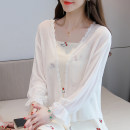 shirt white Average size Summer 2021 polyester fiber 51% (inclusive) - 70% (inclusive) Long sleeves commute Crew neck Solid color