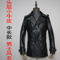 leather clothing Ayefifo / night flying bat Youth fashion Calf windbreaker M,L,XL,2XL,3XL,4XL Medium length Leather clothes tailored collar Slim fit double-breasted spring leisure time youth top layer leather Youthful vigor Men's windbreaker belt Straight hem Side seam pocket belt