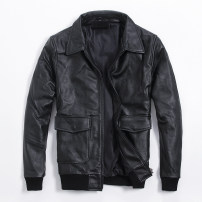 leather clothing Ayefifo / night flying bat Youth fashion Black sheepskin single, black cowhide single, black sheepskin plus cotton, black cowhide plus cotton S,M,L,XL,2XL,3XL,4XL routine Leather clothes Lapel easy zipper spring leisure time middle age The first layer is cow hide and sheep skin 6-660