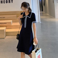 Dress Summer 2021 Picture color S,M,L,XL Mid length dress singleton  Short sleeve commute Polo collar High waist Solid color Socket A-line skirt routine 18-24 years old Type A Other / other Korean version 31% (inclusive) - 50% (inclusive) knitting cotton