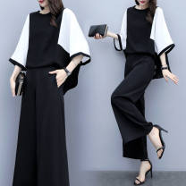 Fashion suit Spring 2021 M is recommended to be within 100 kg, l is recommended to be within 100-120 kg, XL is recommended to be within 120-140 kg, 2XL is recommended to be within 140-160 kg, 3XL is recommended to be within 160-180 kg, 4XL is recommended to be within 180-200 kg Black and white suit