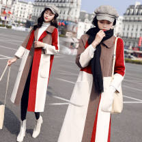 woolen coat Autumn 2021 S suggests 90-105 kg, m 105-120 kg, l 120-135 kg, XL 135-150 kg, 2XL 150-160 kg, 3XL 160-180 kg Color matching red (thickened with cotton), color matching blue (thickened with cotton) other 81% (inclusive) - 90% (inclusive) Medium length Long sleeves commute routine