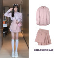 Fashion suit Spring 2021 S,M,L Pink shirt, white shirt, pink skirt, dark coffee skirt 18-25 years old 323-1 31% (inclusive) - 50% (inclusive)