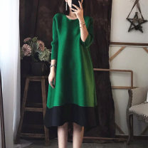Dress Spring of 2019 Round collar green, round collar black, round collar red, high collar green, high collar black, high collar red Average size Mid length dress singleton  three quarter sleeve street Crew neck Loose waist Decor other A-line skirt routine Others 35-39 years old Type A Fold, print