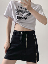 skirt Summer 2021 M,L,XL,2XL black Short skirt commute High waist A-line skirt Solid color Type A 18-24 years old 30% and below other Other / other Simplicity