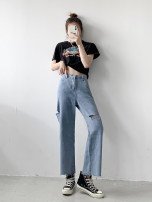 Jeans Summer 2021 blue M,L,XL,2XL,3XL,4XL trousers High waist Straight pants routine 18-24 years old other light colour Other / other 30% and below