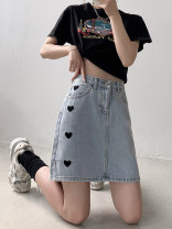 skirt Summer 2021 M,L,XL,2XL Light blue, black, dark blue, apricot Short skirt commute High waist A-line skirt other Type A 18-24 years old 30% and below other Other / other other Simplicity