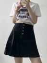 skirt Summer 2021 M,L,XL,2XL,3XL black Short skirt commute High waist A-line skirt other Type A 18-24 years old 30% and below other Other / other other Simplicity