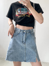 skirt Summer 2021 M,L,XL,2XL Blue skirt Short skirt commute High waist A-line skirt Solid color Type A 18-24 years old 30% and below other Other / other Simplicity