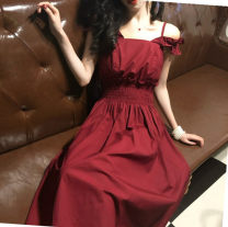 Dress Summer 2020 Red, black, black 1818, white 1818 S,M,L,XL,2XL,3XL Mid length dress singleton  Sleeveless Sweet middle-waisted Solid color other camisole 25-29 years old Type A 31% (inclusive) - 50% (inclusive) other other college