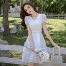 Dress Spring 2021 White (short sleeve), white (long sleeve) S,M,L,XL,2XL Middle-skirt singleton  Short sleeve commute V-neck High waist Solid color Socket A-line skirt routine Others 18-24 years old Type A Korean version Gouhua hollow 91% (inclusive) - 95% (inclusive) Lace polyester fiber