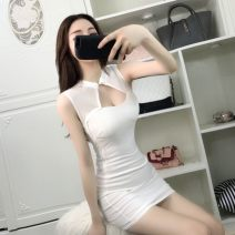 Dress Summer 2020 White, black S,M,L Short skirt singleton  Sleeveless street One word collar High waist Solid color Socket Pencil skirt Hanging neck style 18-24 years old Type X Other / other Splicing K32704 31% (inclusive) - 50% (inclusive) Europe and America