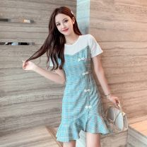 Dress Summer 2020 Pink, green S. M, l, XL, 2XL, to ensure that the object is consistent with the picture Middle-skirt singleton  Short sleeve commute Crew neck High waist lattice Ruffle Skirt routine 18-24 years old Type X Retro X5-26