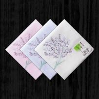 Handkerchief Original white background, light blue background, light pink background. Niwa  Embroidery Lavender About 46 times 46 centimeters Pure cotton gauze Double layer thin cotton gauze Japan Wipe sweat wipe face napkin cover leg