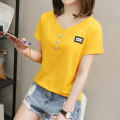 T-shirt M L XL XXL XXXL Summer 2021 Short sleeve V-neck Self cultivation Regular routine commute cotton 86% (inclusive) -95% (inclusive) 18-24 years old Korean version literature Letter solid color Kazhili KZL952449E Stitching button patch Cotton 95% polyurethane elastic fiber (spandex) 5%