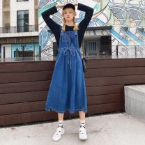 Women's large Autumn 2020 Cotton T, denim skirt L [recommended 100-120 kg], XL [recommended 120-140 kg], 2XL [recommended 140-160 kg], 3XL [recommended 160-180 kg], 4XL [recommended 180-200 kg] Dress Two piece set Sweet easy moderate Socket Long sleeves Solid color routine Denim routine Bandage other