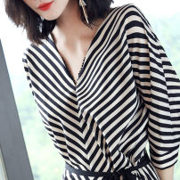 Dress Summer 2017 Black and white stripes S,XL,L,M,XXL Short skirt singleton  elbow sleeve commute V-neck middle-waisted stripe Socket A-line skirt Bat sleeve Others 25-29 years old OEZD Korean version Lace up, stitching E7XD8599 51% (inclusive) - 70% (inclusive) polyester fiber