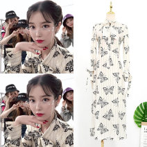 Dress Autumn of 2019 Butterfly print dress S,XL,L,M longuette singleton  Long sleeves commute Scarf Collar High waist Decor Socket A-line skirt routine Others 25-29 years old Print, lace up, stitching, asymmetric, bow Chiffon polyester fiber