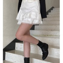 skirt Summer 2021 S,M,L White, black Short skirt Versatile High waist A-line skirt Solid color Type A 18-24 years old 51% (inclusive) - 70% (inclusive) other other Lace up, fold