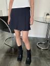 skirt Spring 2021 S, M Black, dark blue Short skirt commute High waist A-line skirt stripe Type A 18-24 years old 71% (inclusive) - 80% (inclusive) other fold Korean version