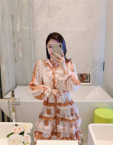 Dress Spring 2021 Picture color S,M,L longuette singleton  Long sleeves commute stand collar High waist Dot Single breasted Cake skirt Lotus leaf sleeve Type A court Lotus leaf edge other other