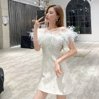 Dress Summer 2021 Off white S,M,L,XL Short skirt singleton  Sleeveless commute One word collar High waist other zipper A-line skirt other Breast wrapping Type A Korean version other other