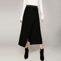 skirt Winter 2017 S L M XL Black Mid length dress commute Natural waist Irregular Solid color Type H 25-29 years old 31% (inclusive) - 50% (inclusive) cut silk into pieces for writing letters acrylic fibres Asymmetry Simplicity Pure e-commerce (online only)