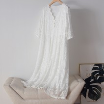 Dress Summer 2021 white S,M,L,XL,2XL longuette singleton  three quarter sleeve commute V-neck Loose waist Solid color Socket A-line skirt pagoda sleeve 25-29 years old Type A Embroidery More than 95% Lace silk